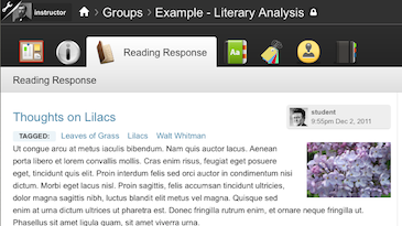 "An example Collaborative Site featuring the ""Reading Response"" tool."